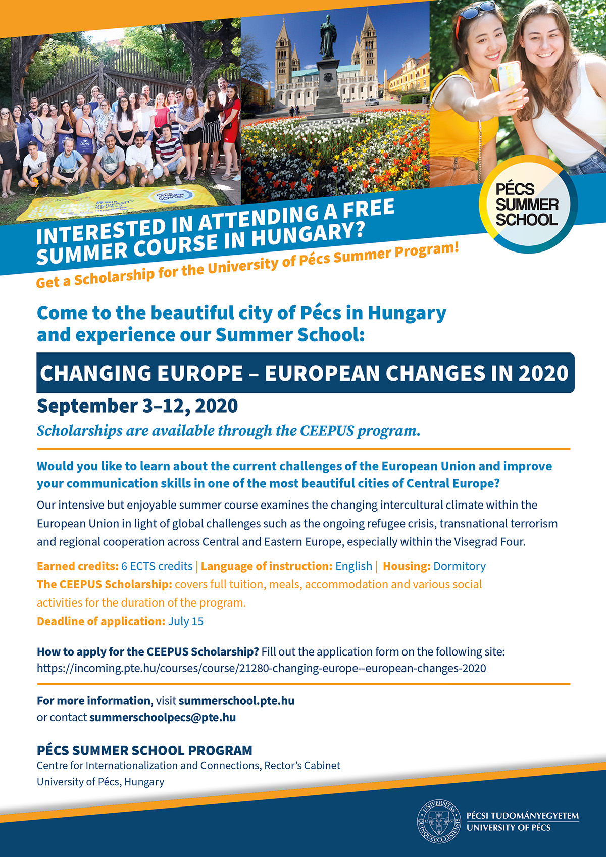 CEEPUS Summer School about the European Union 'Changing Europe – European Changes 2020'