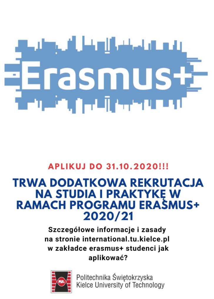 Trwa DODATKOWA Rekrutacja na Studia  i Praktykę w ramach Programu ERASMUS+ 2020/21
