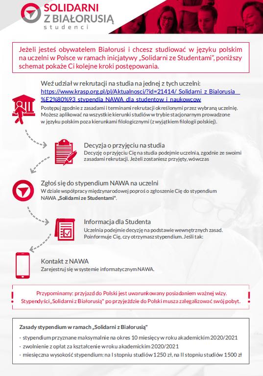 """""""Solidarni z Białorusią"""" – stypendia NAWA dla studentów i naukowców"""